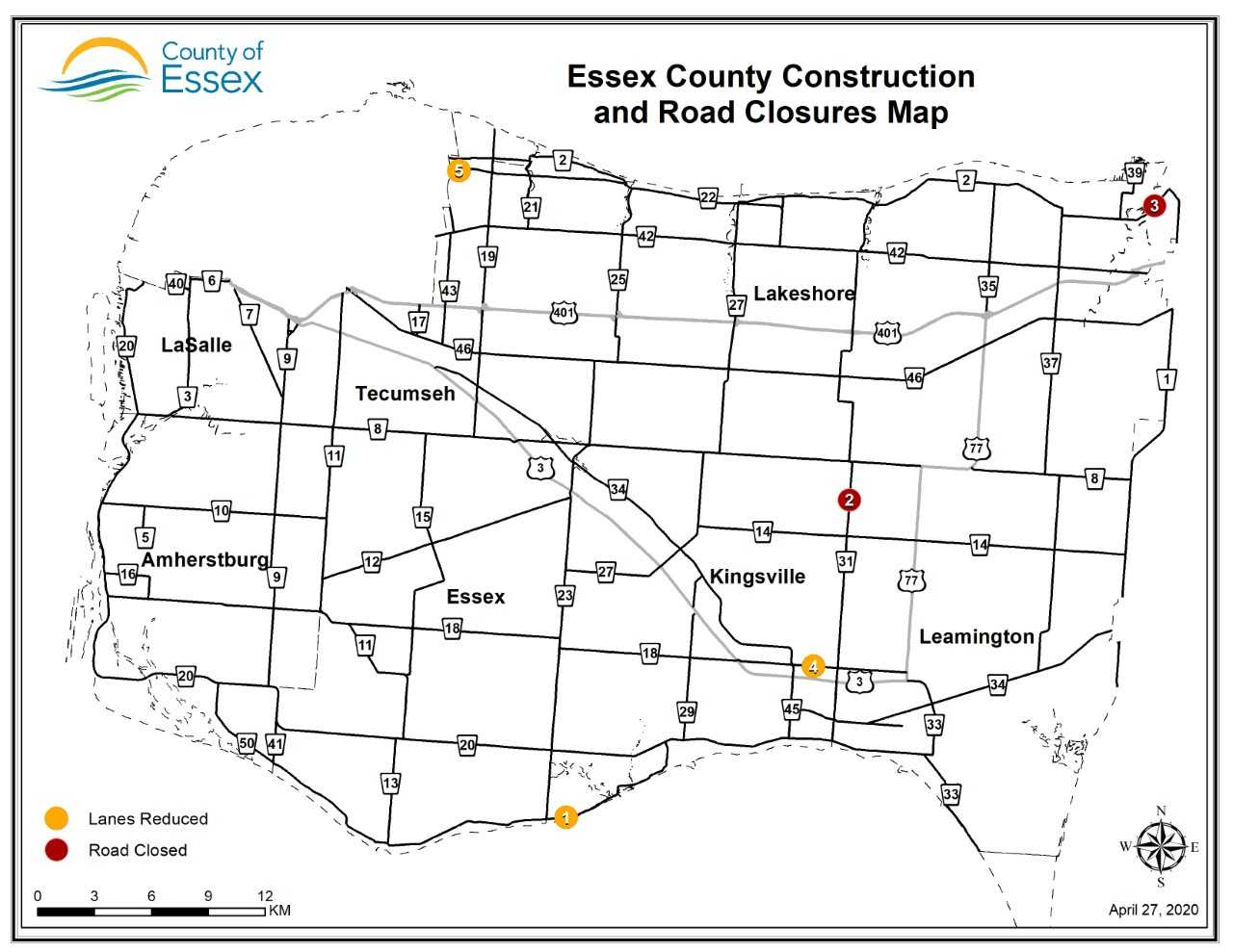 A map of Essex County showing road closures and lane restrictions for April 28, 2020.