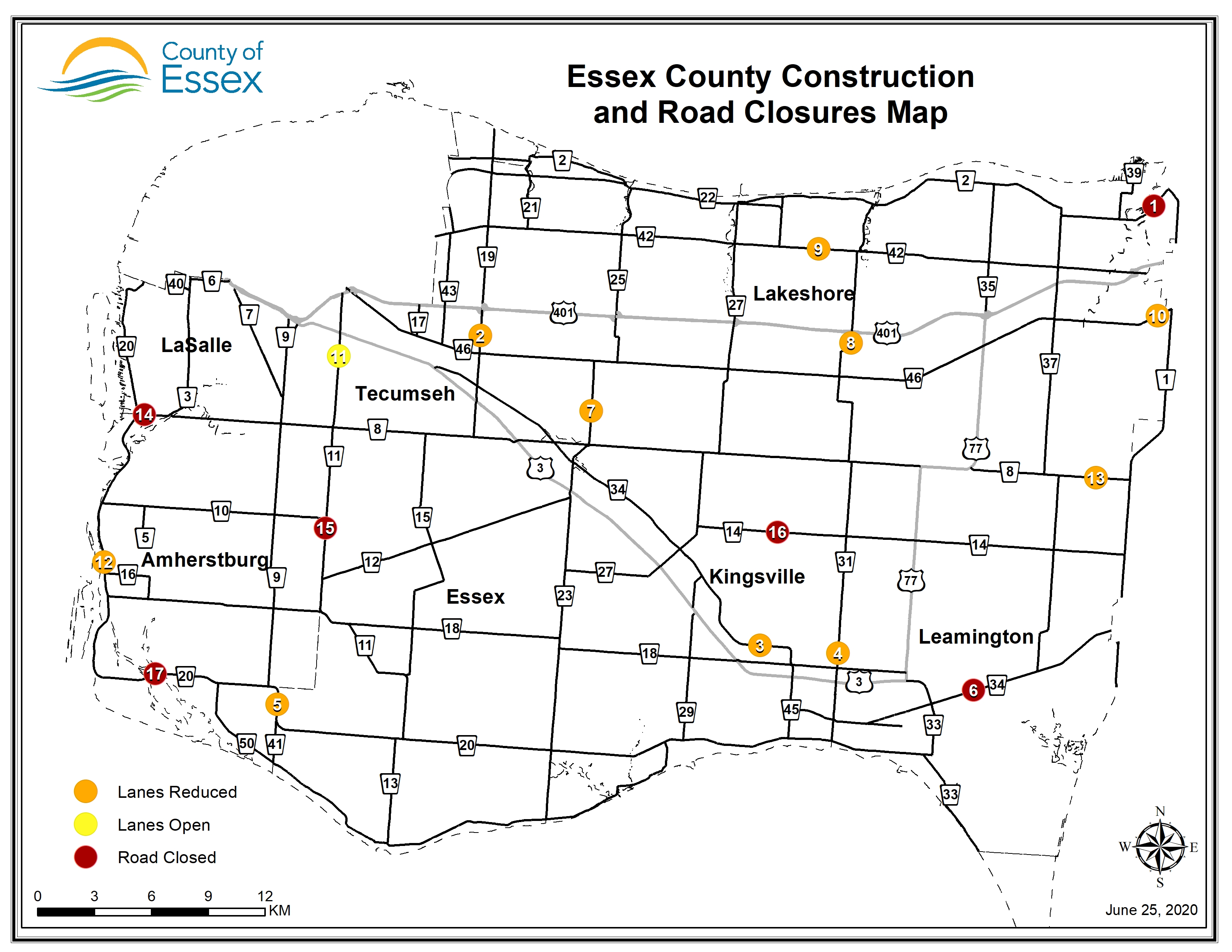 A map of Essex County showing road closures and lane restrictions for June 25, 2020.