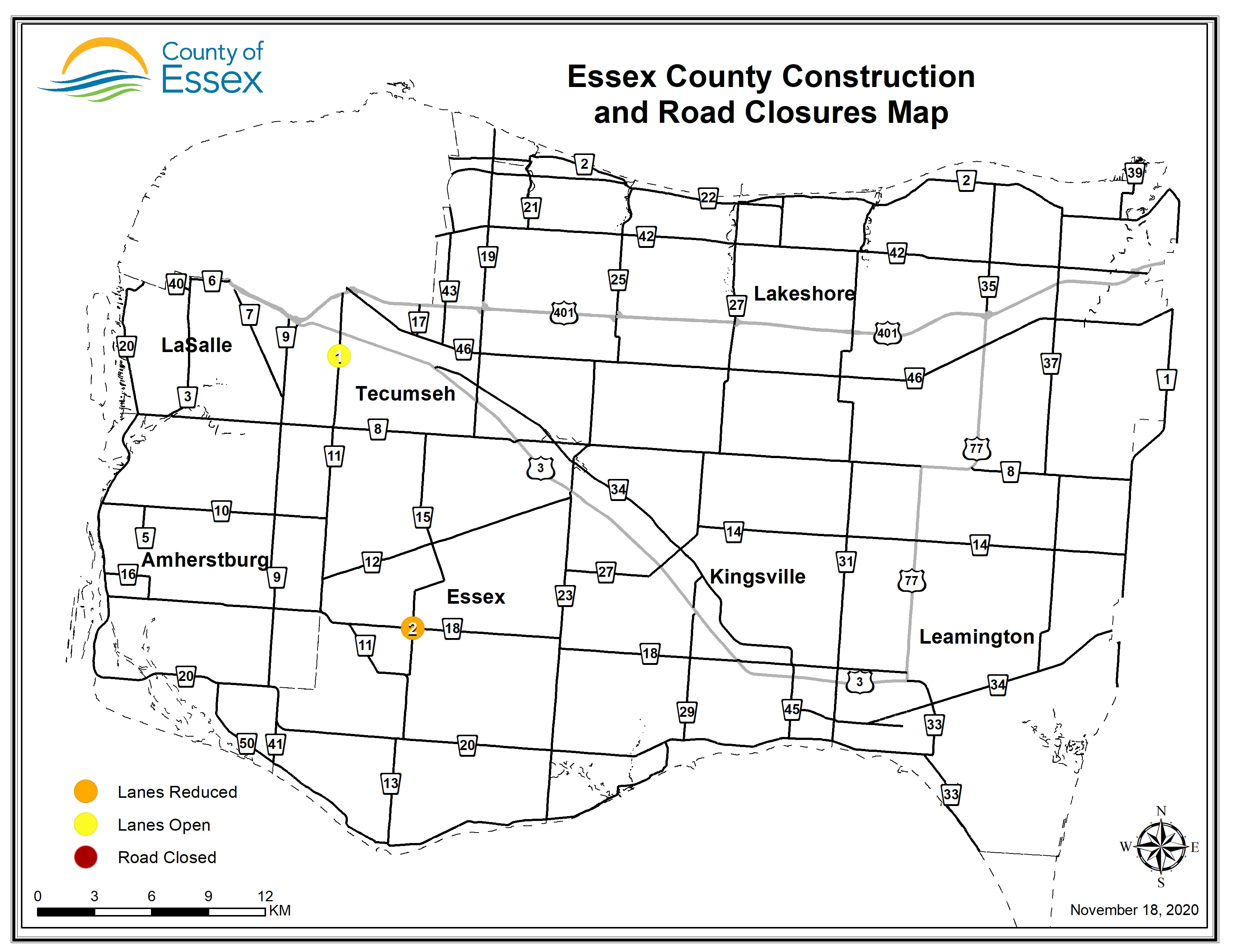 A map of Essex County showing road closures and lane restrictions for November 18, 2020.