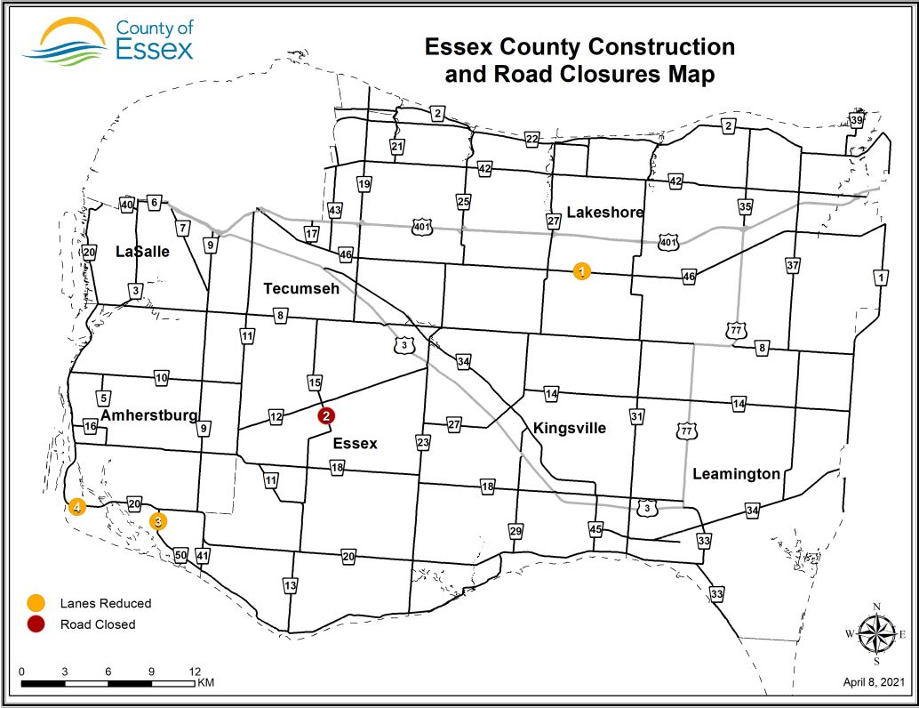 A map of Essex County showing lane restrictions and road closures for April 8, 2021