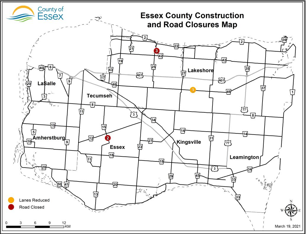 A map of Essex County showing lane restrictions and road closures for March 19, 2021.