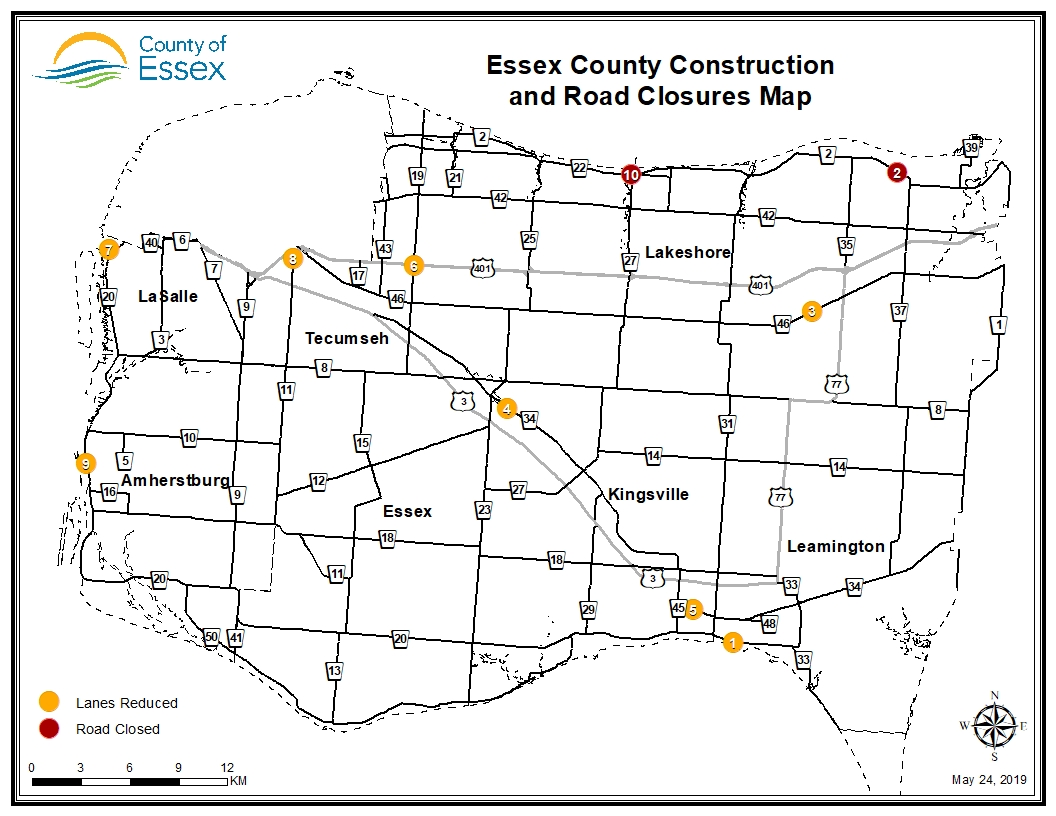 A map of Essex County showing road closures and lane restrictions for the week of May 24, 2019.