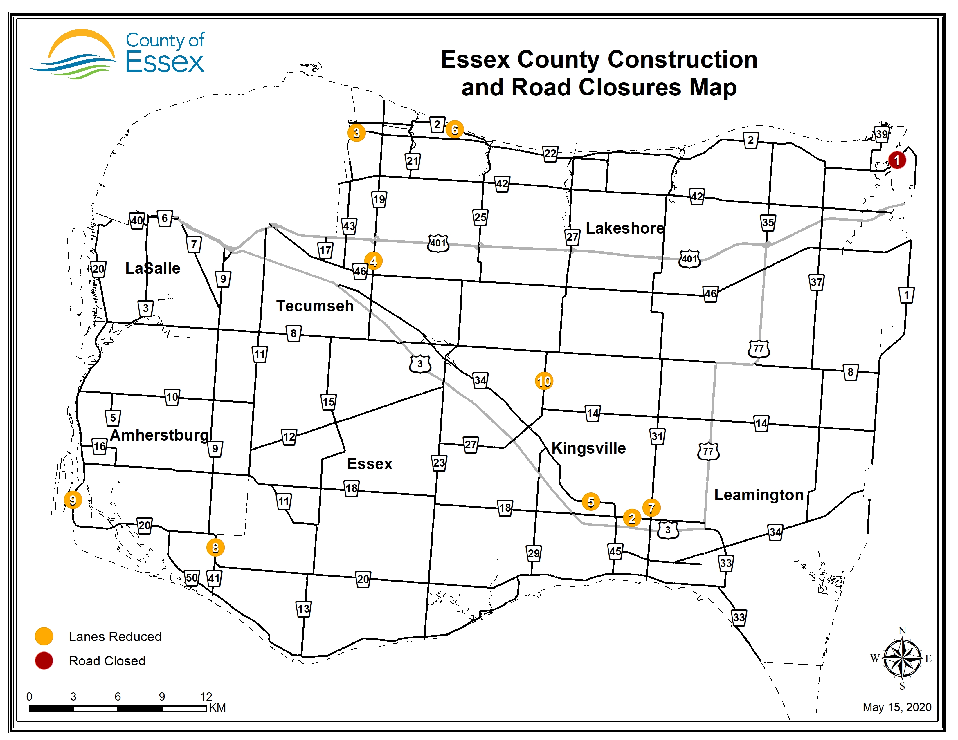 A map of Essex County showing road closures and lane restrictions for May 15, 2020