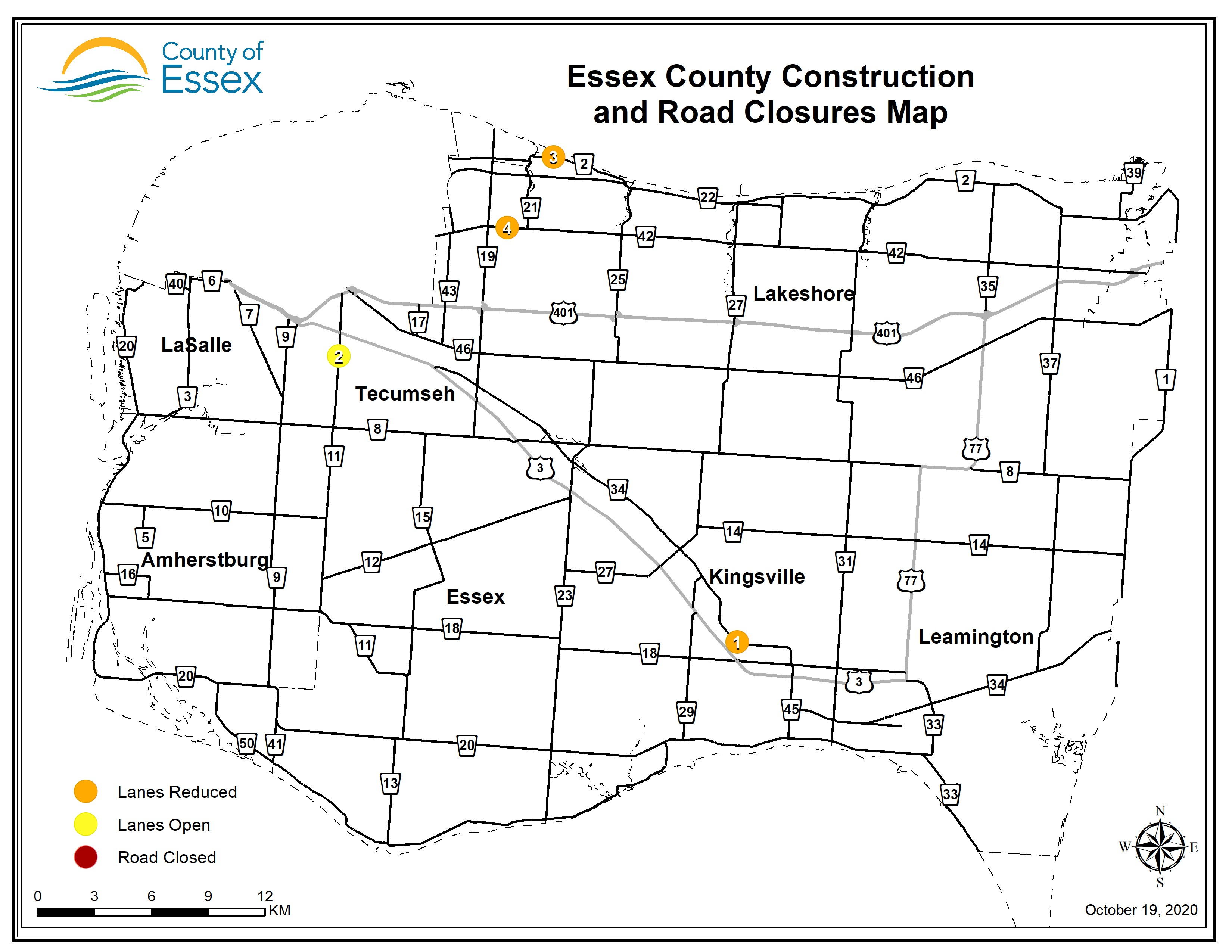 A map of Essex County showing road closures and lane restrictions for Oct. 19, 2020.