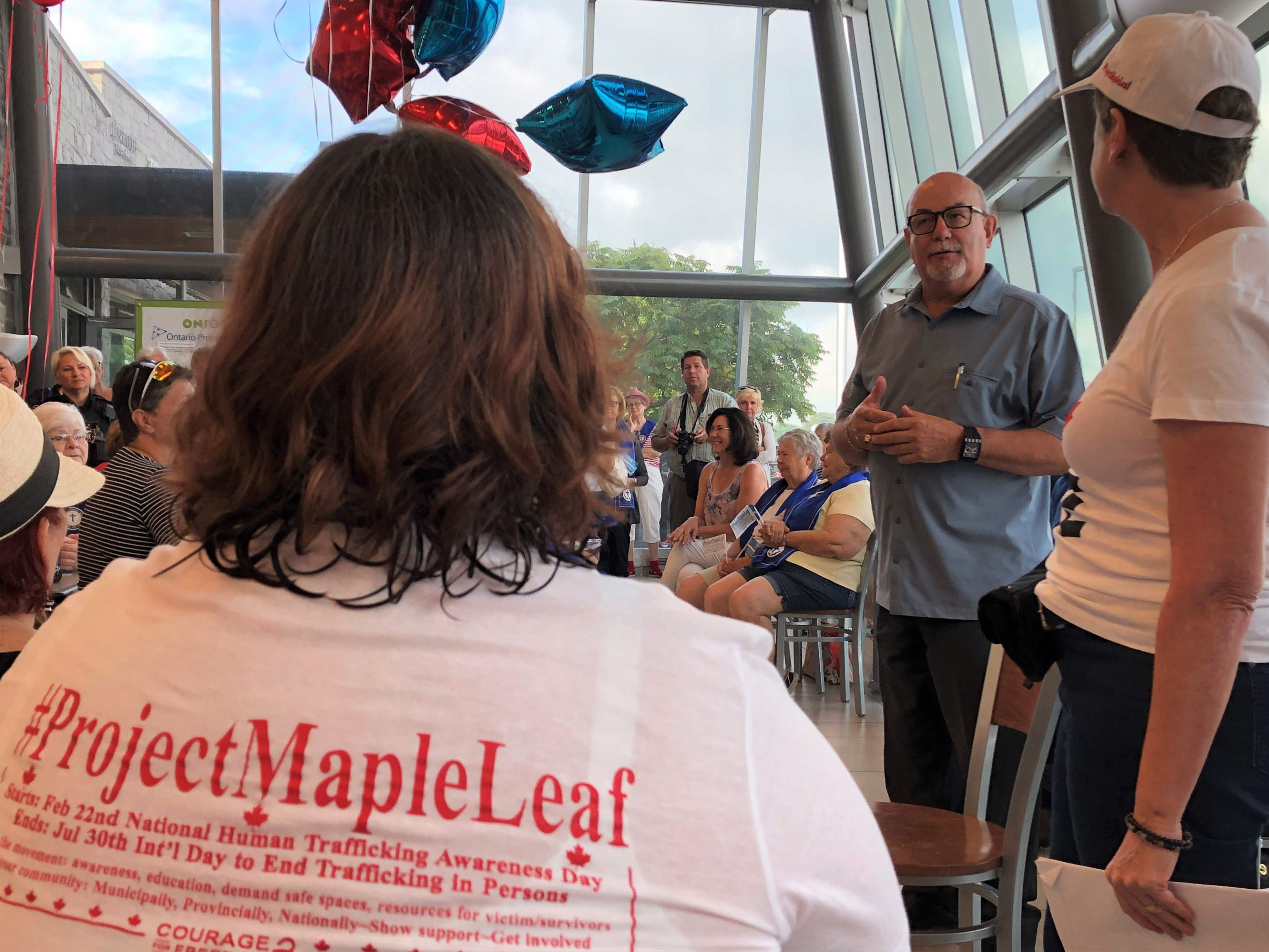 Essex County Warden Gary McNamara speaks at the Project Maple Leaf event against human trafficking in Tilbury.