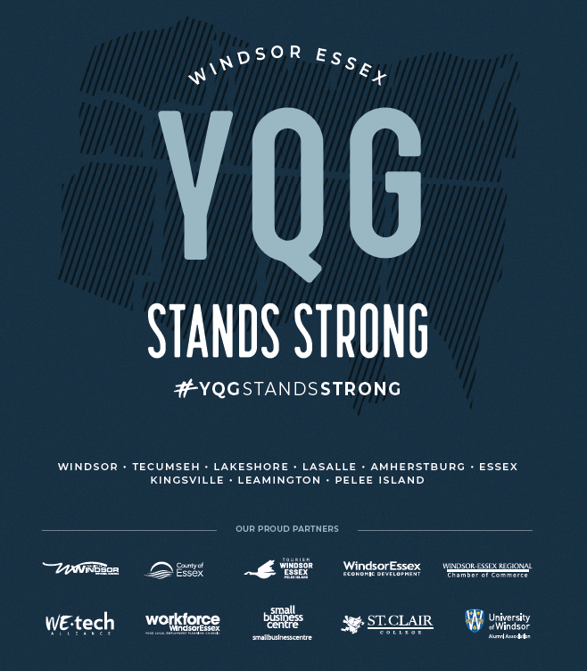 A poster with logos of County municipalities and the hashtag YQGStaysStrong