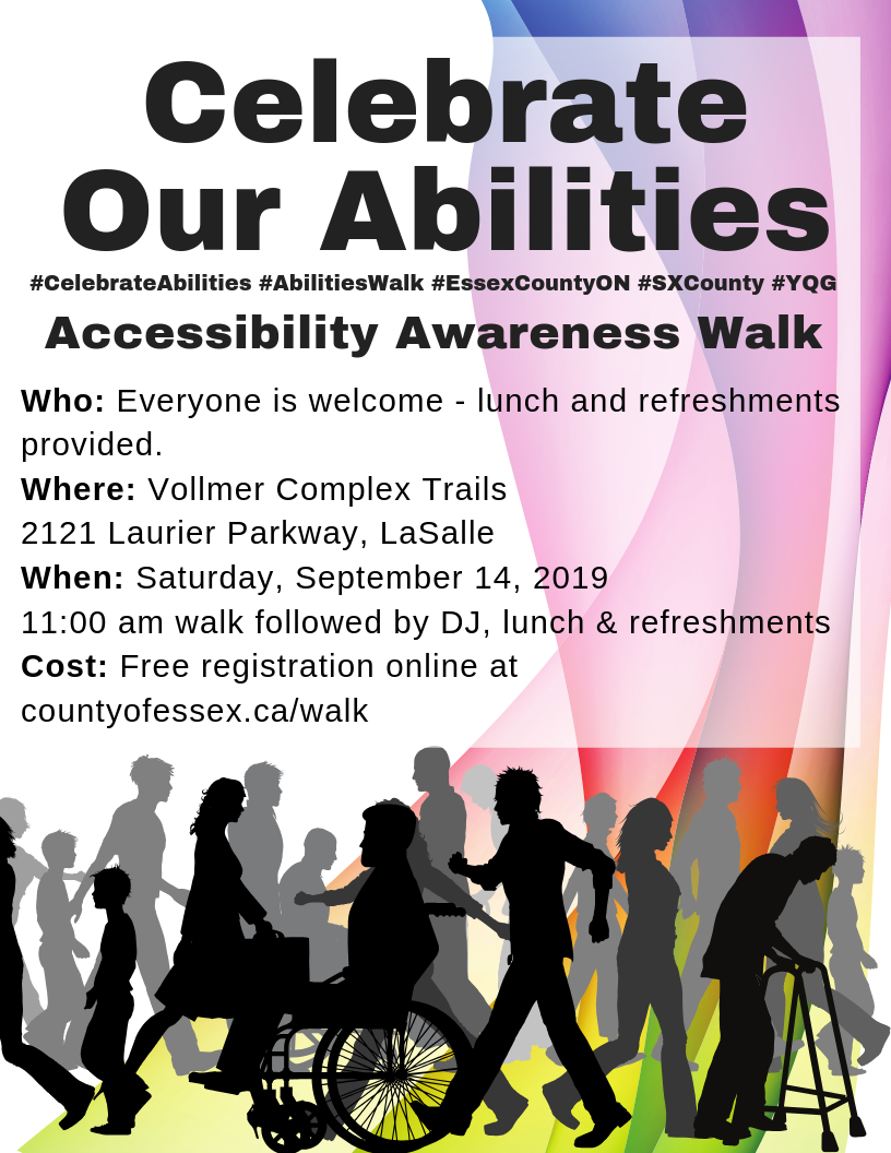 Silhouettes of people with varying abilities walking beneath details of the walk at 11 a.m. on Saturday, Sept. 14th at the Vollmer Complex in LaSalle.