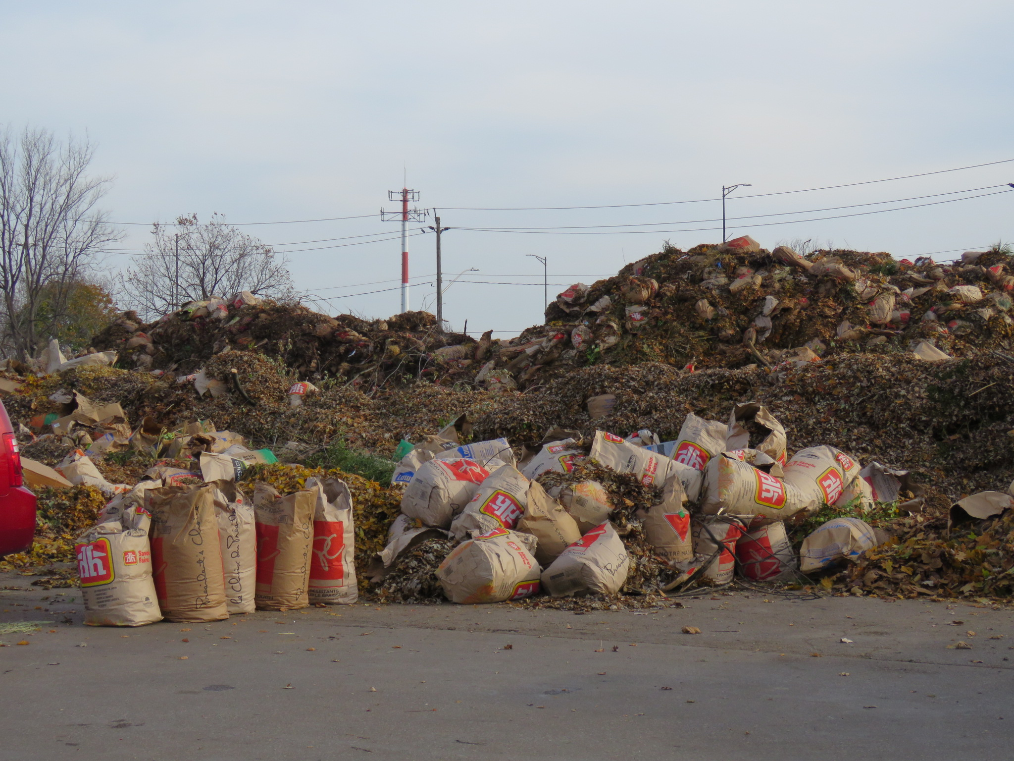 Yard waste bags at recycling centre
