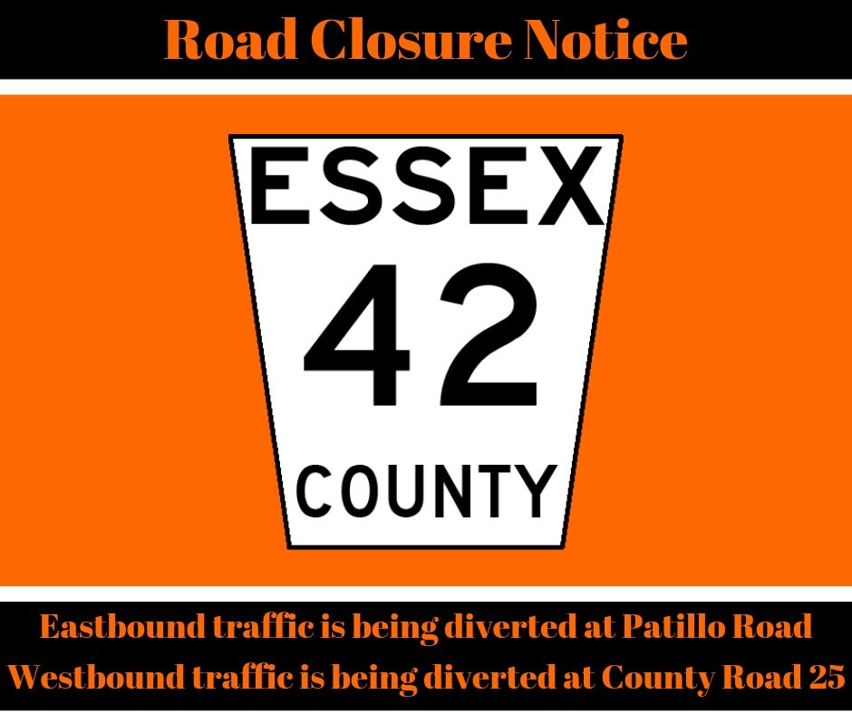 The sign/shield for County Road 42 against an orange blackground, advising the road is closed between Patillo Road and County Road 25