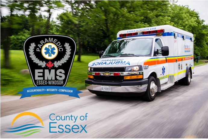Ambulance with county, EMS logos